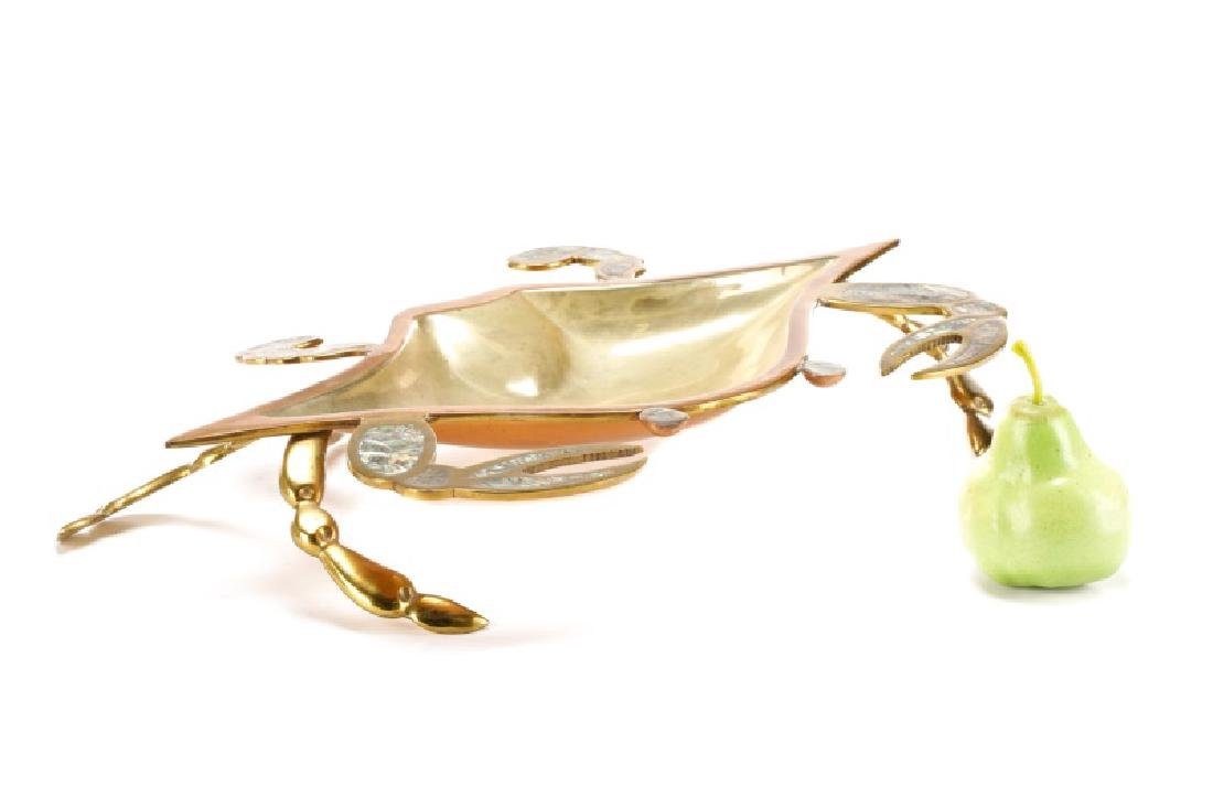 Mexican Brass, Copper, and Abalone Crab Dish - 10