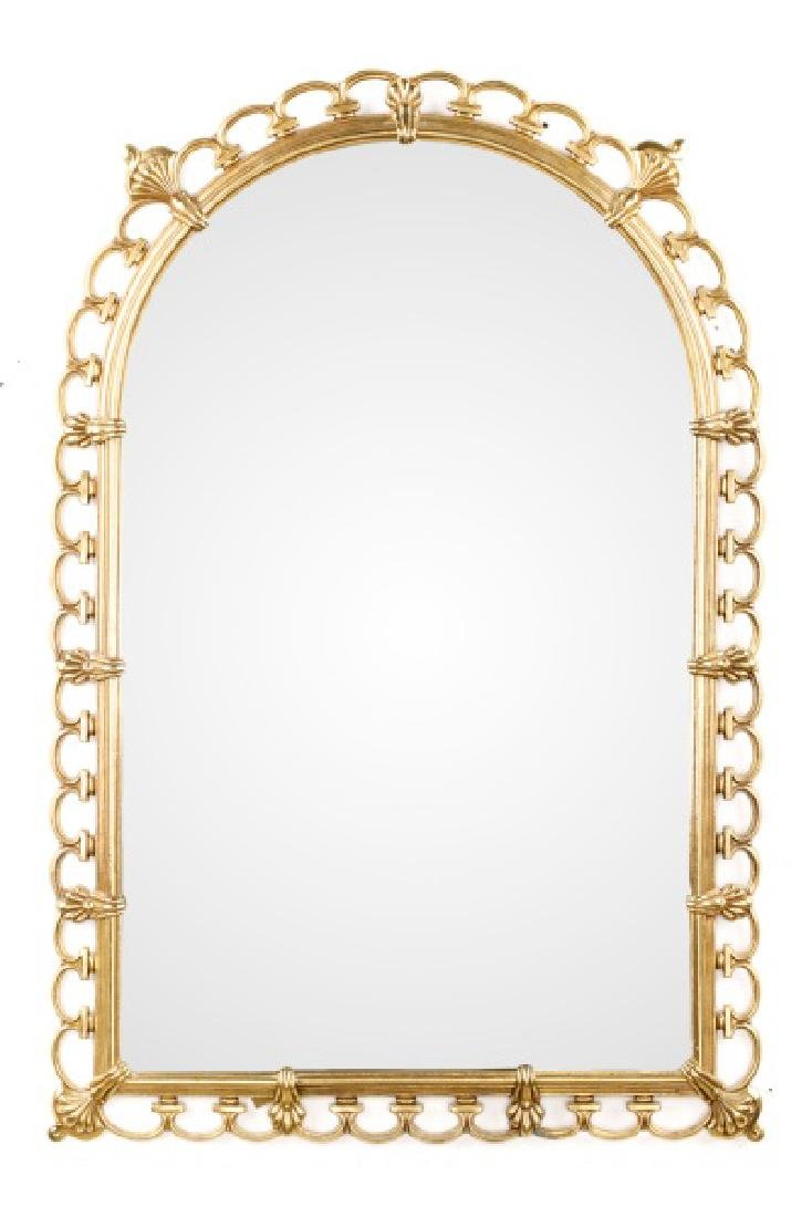 Hollywood Regency Gilt Brass Shell Motif Mirror