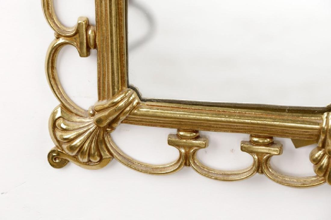 Hollywood Regency Gilt Brass Shell Motif Mirror - 3
