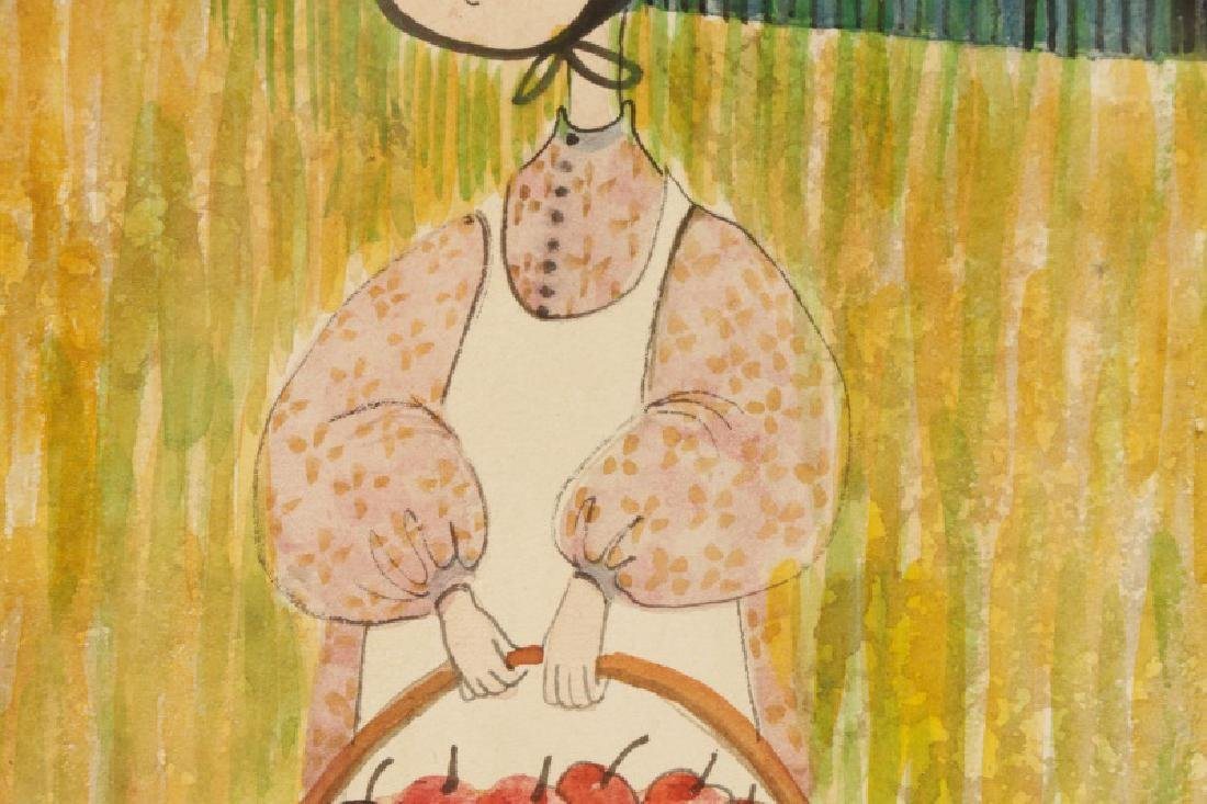 """Patricia Buckley Moss,""""Apple Picker""""-1977, Signed - 3"""
