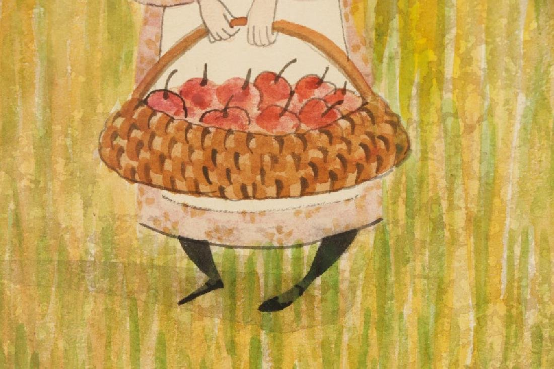 """Patricia Buckley Moss,""""Apple Picker""""-1977, Signed - 5"""