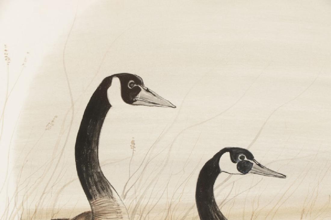 "Patricia Buckley Moss, ""Geese""-1975, Watercolor - 2"