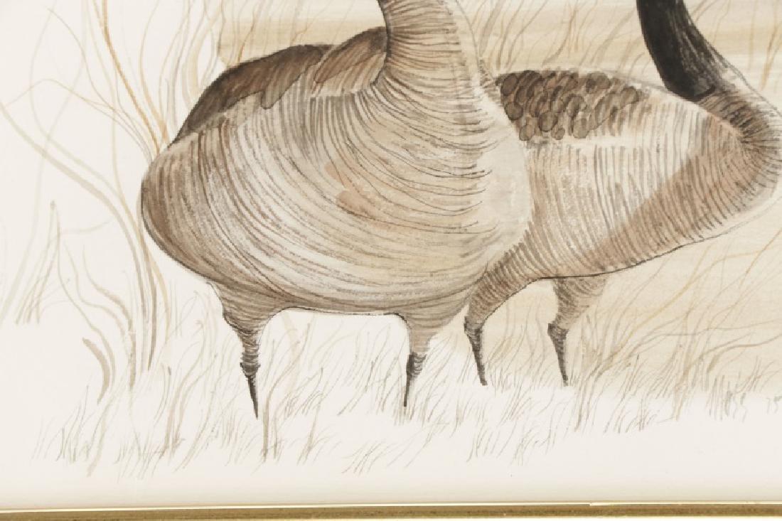 "Patricia Buckley Moss, ""Geese""-1975, Watercolor - 3"