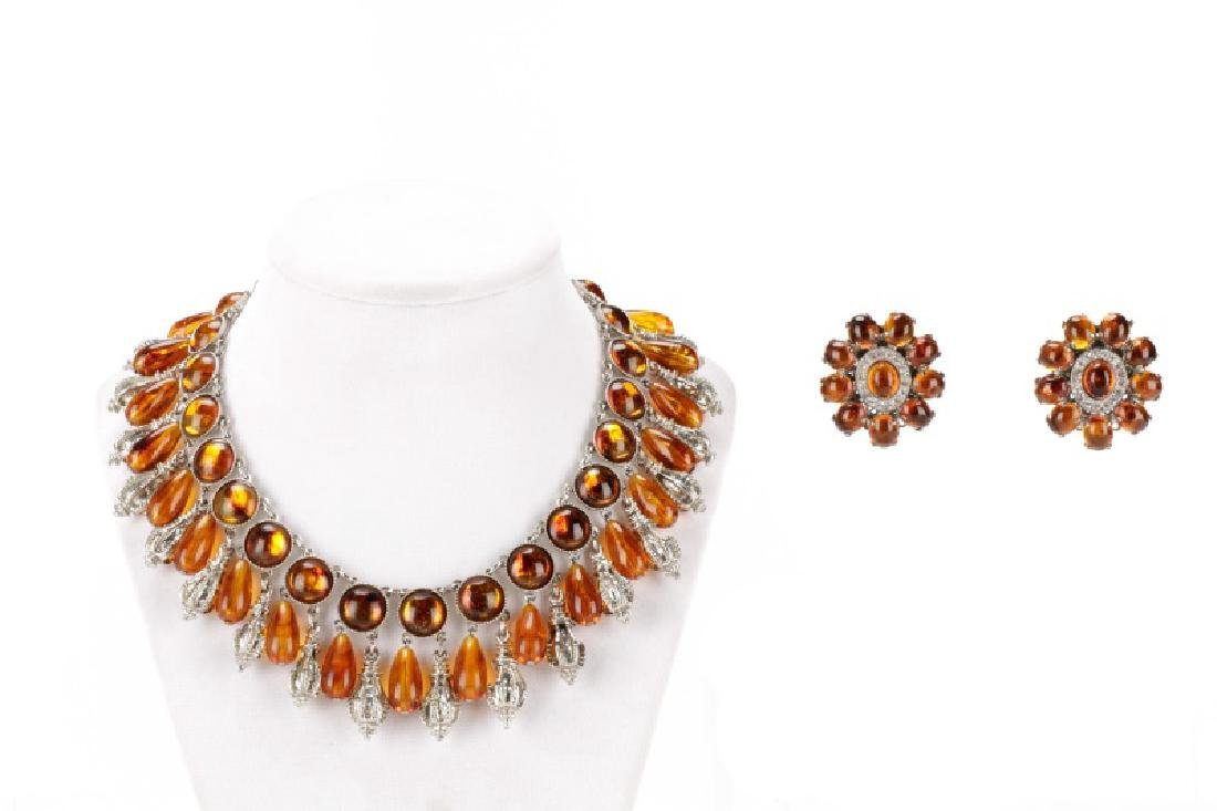 Carlo Zini Amber Necklace & Earring Set