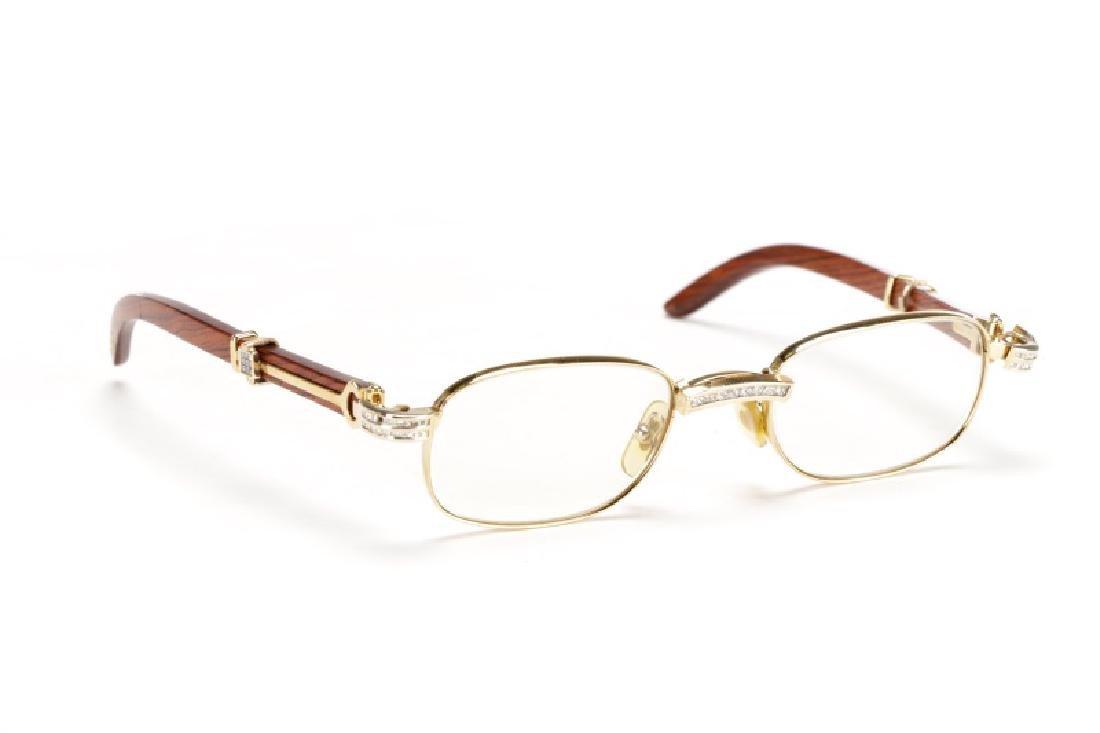 Rosewood & Glass Crystal Cartier Eyeglasses