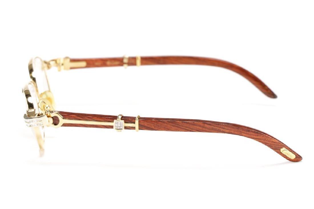 Rosewood & Glass Crystal Cartier Eyeglasses - 2