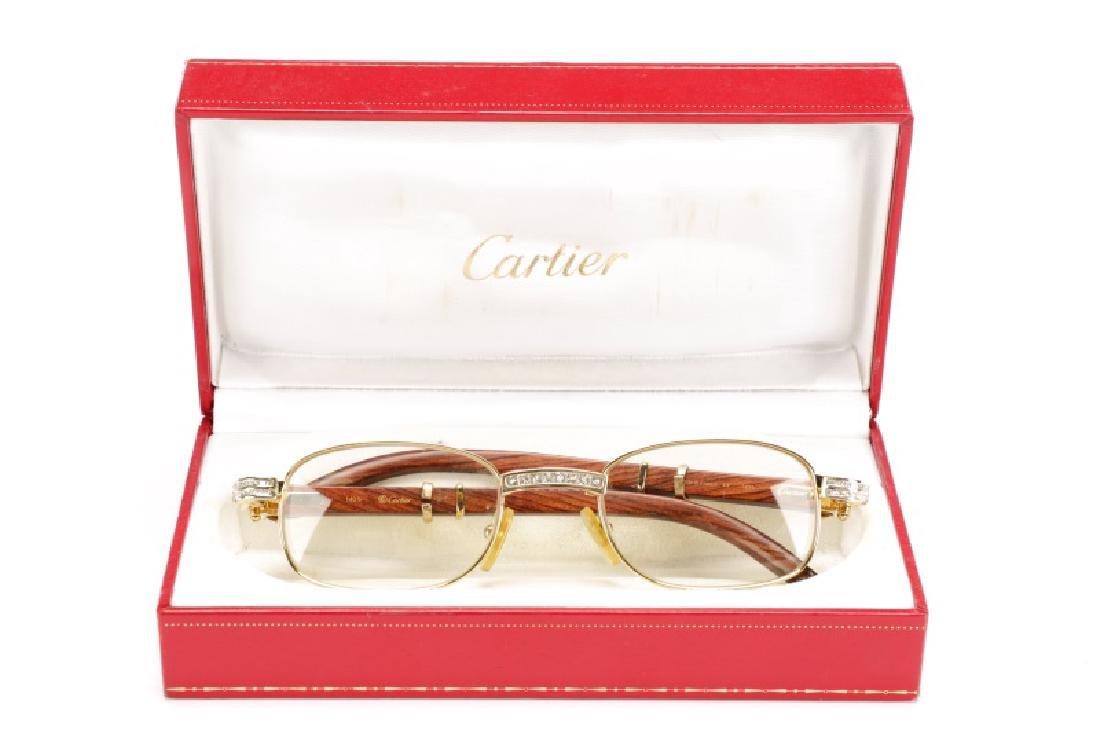 Rosewood & Glass Crystal Cartier Eyeglasses - 6