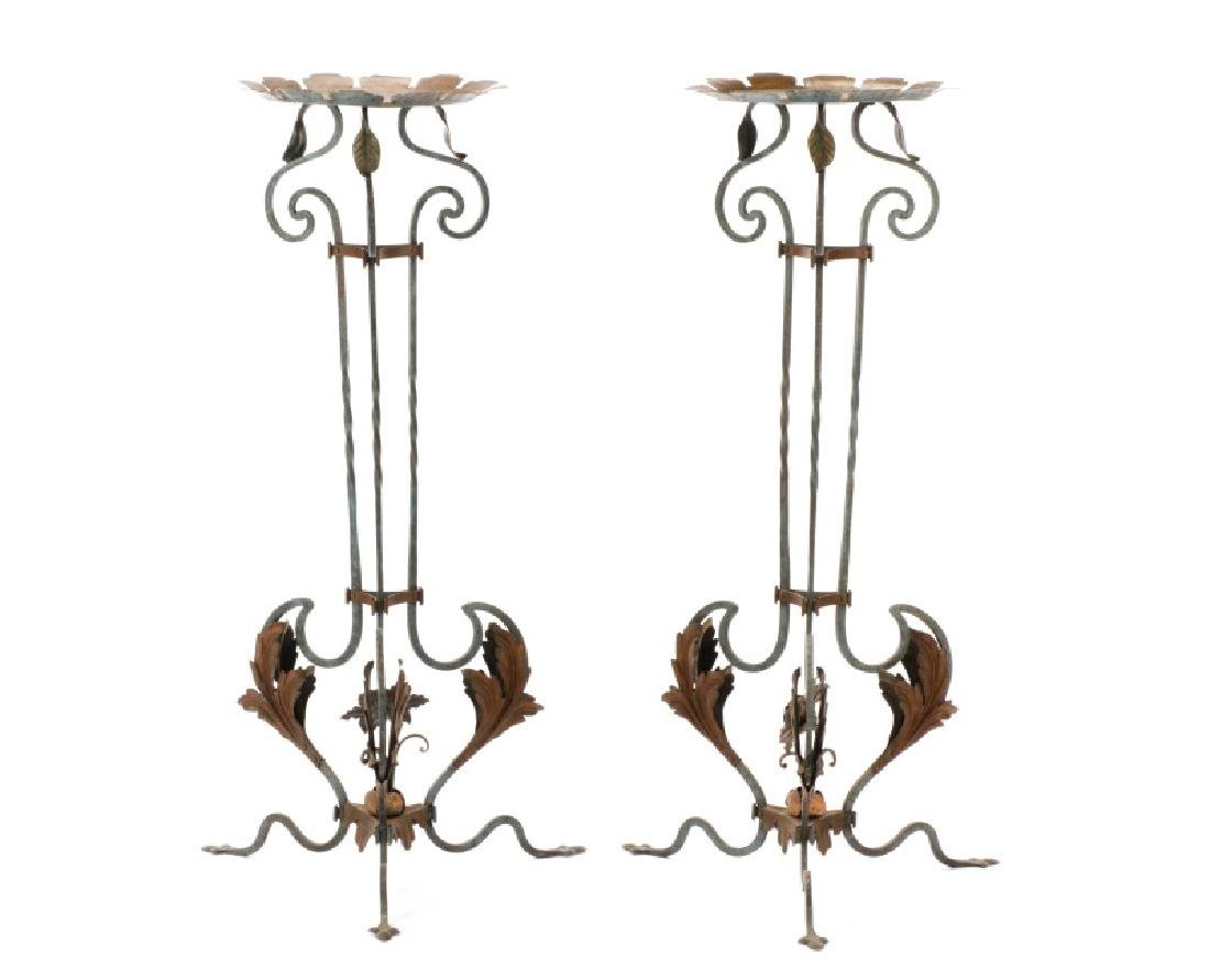 Pair of Wrought Iron & Tole Jardiniere Stands