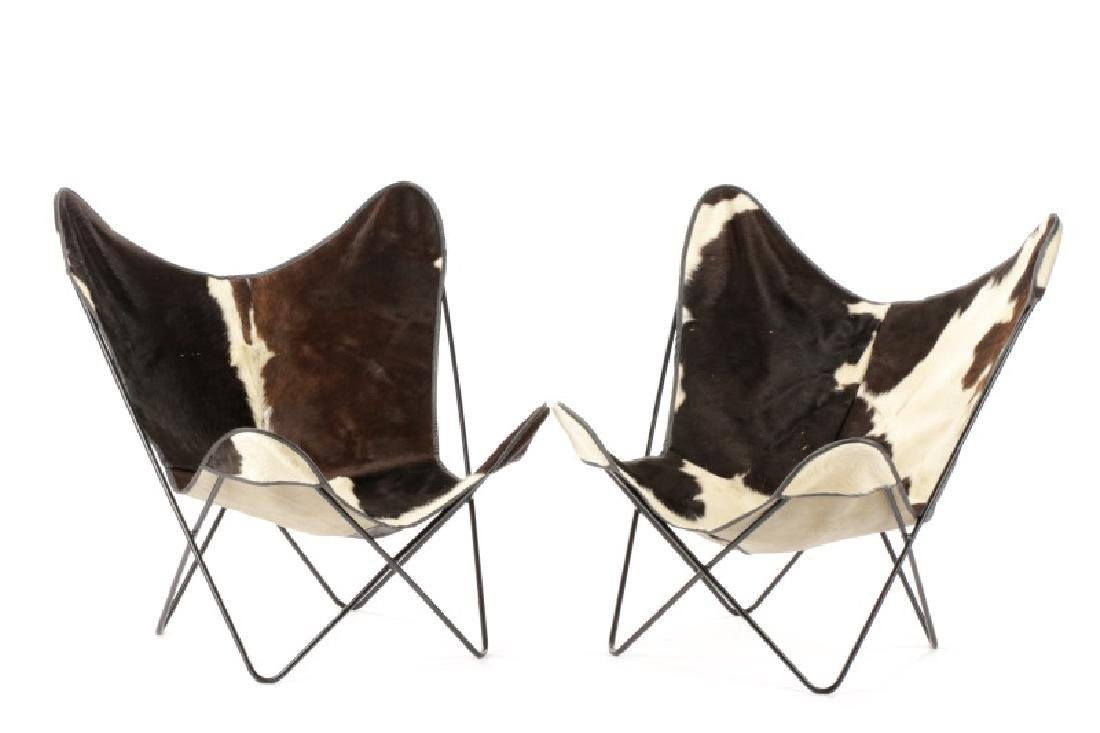 Pair, Wrought Iron and Cow Hide Butterfly Chairs
