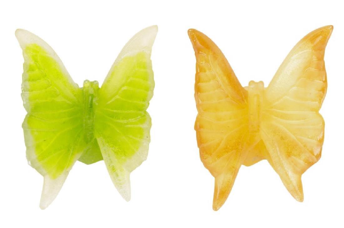 Pair of Daum Papillon Pate de Verre Butterflies