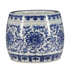 20th C. Chinese Porcelain Blue & White Cricket Pot