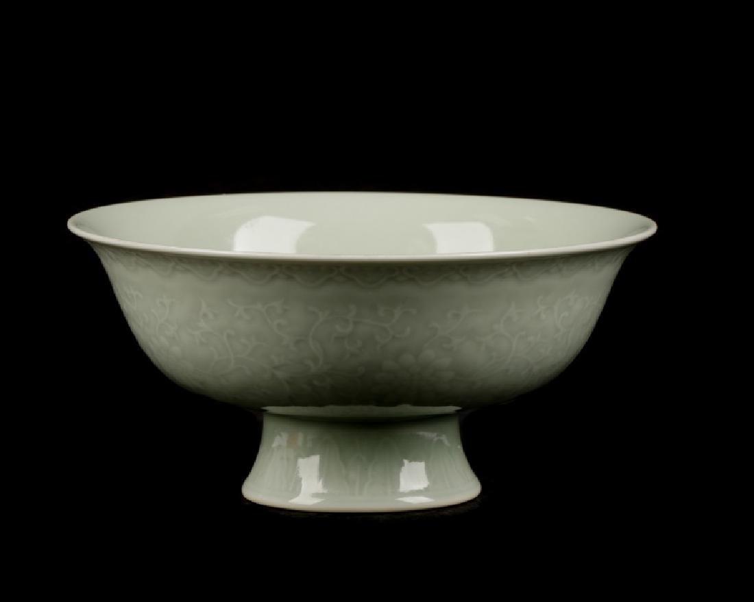 Chinese Celadon Glazed Shallow Bowl, Yongzheng