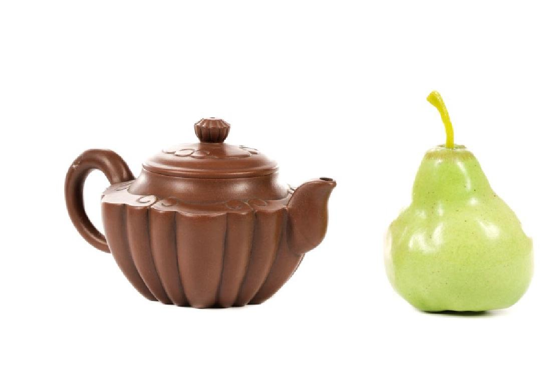 Three Yixing Zisha Teapots, Two Red and One Brown - 10