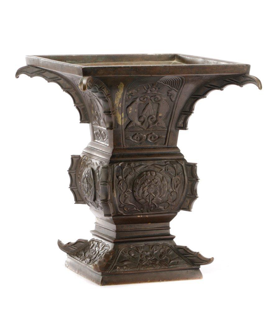 19th C. Japanese Gu Form Bronze Vase