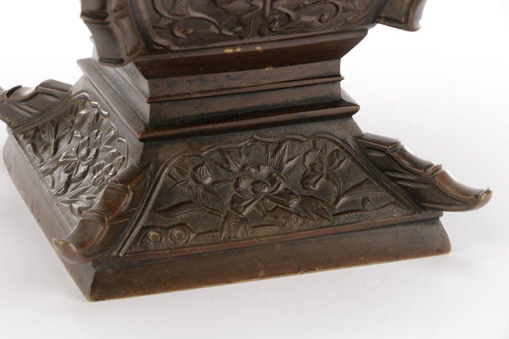 19th C. Japanese Gu Form Bronze Vase - 3