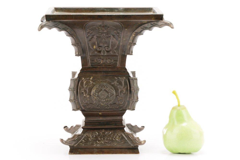 19th C. Japanese Gu Form Bronze Vase - 9