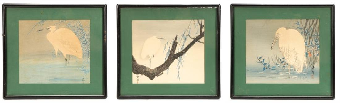 Three Early 20th C. Woodblock Prints of Herons