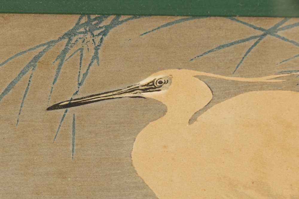 Three Early 20th C. Woodblock Prints of Herons - 2