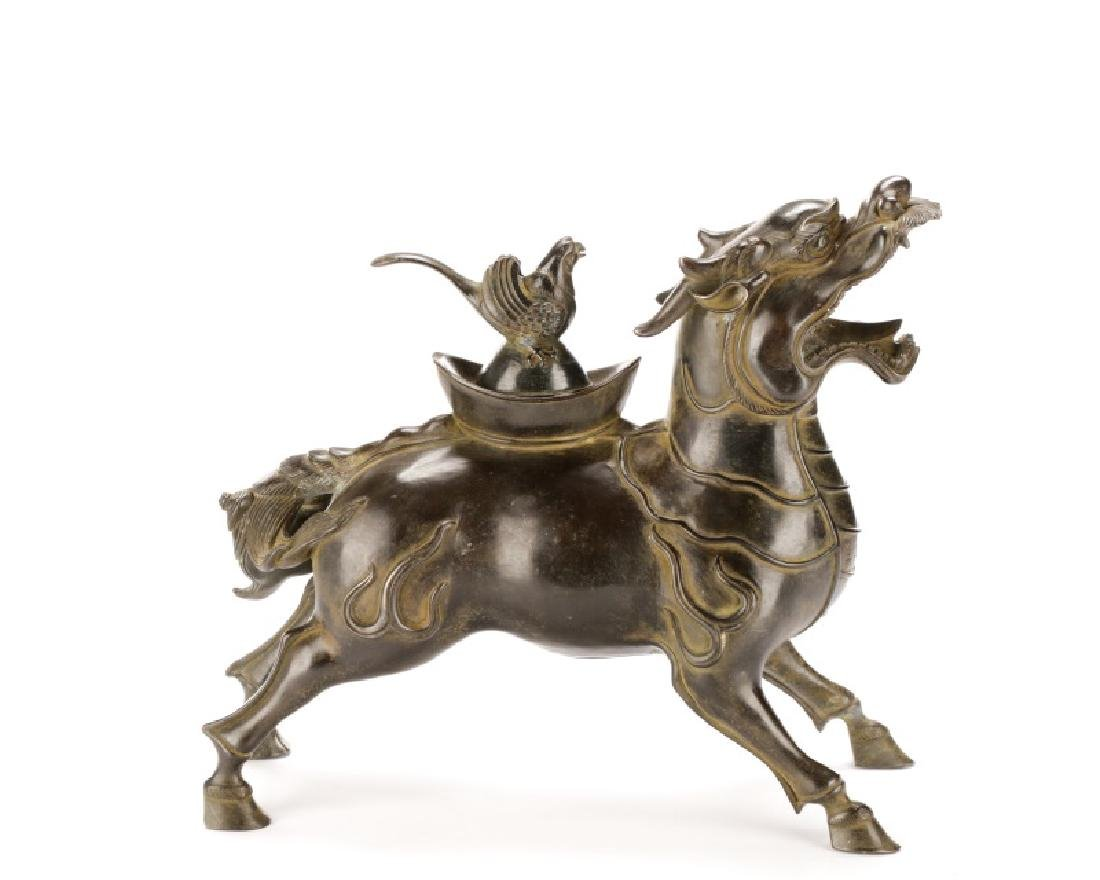 Chinese Figural Bronze Dragon Censor