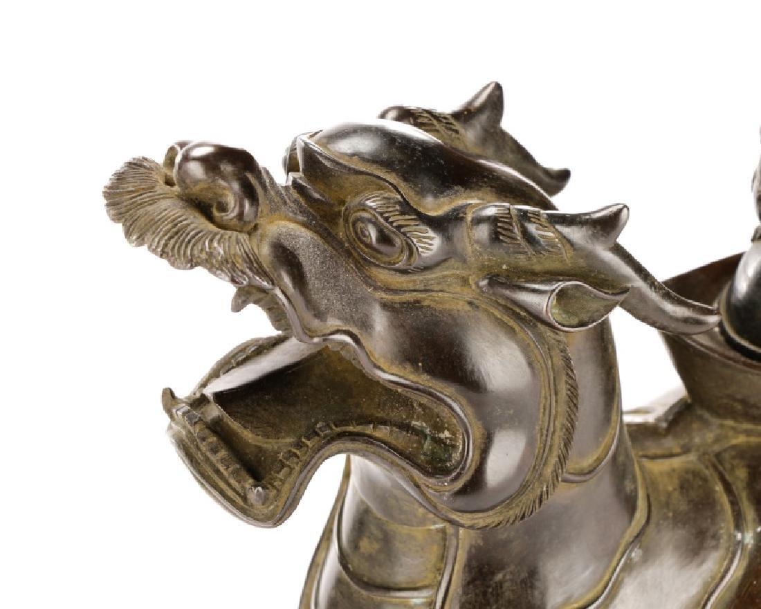 Chinese Figural Bronze Dragon Censor - 5