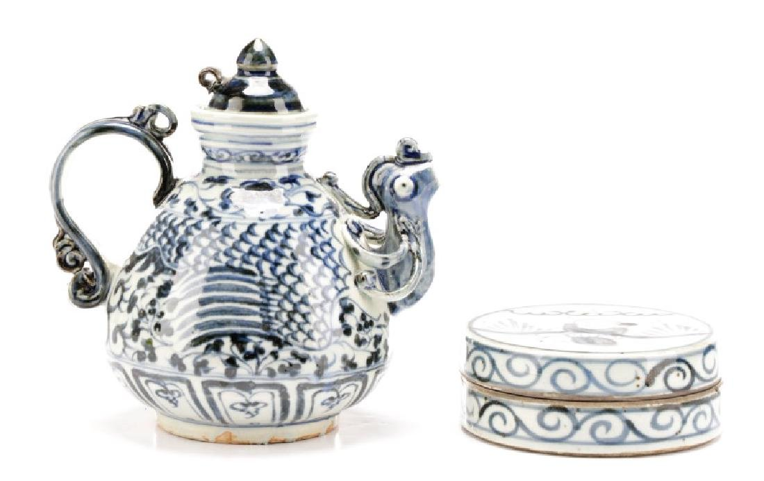 Two Blue & White Glazed Chinese Pottery Items