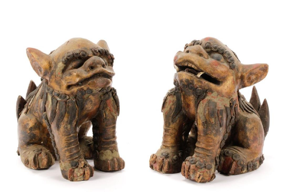 19th C. Polychrome Hand Carved Gilt Wood Foo Dogs
