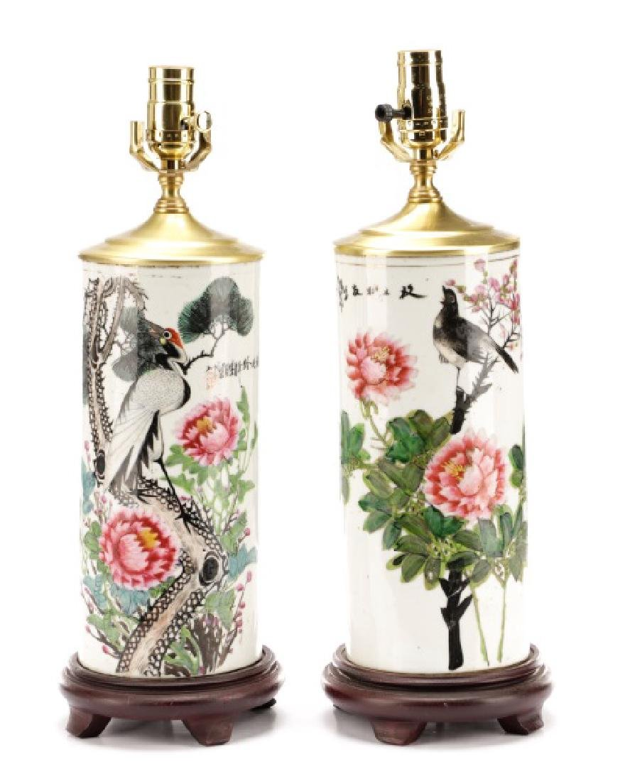 Pair, Chinese Export Vases Converted to Lamps