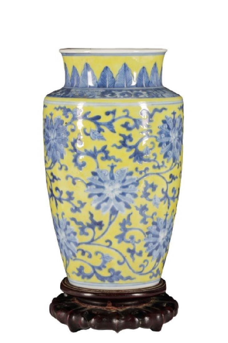 Chinese Famille Jaune Porcelain Vase on Stand