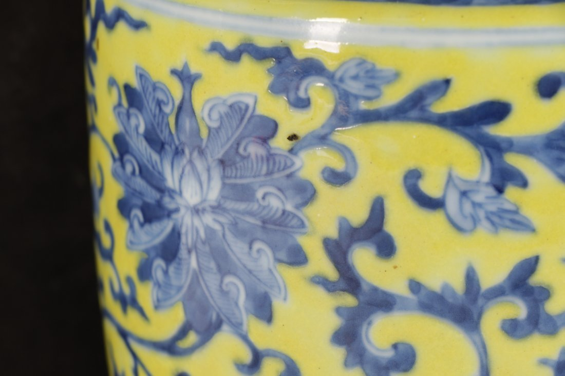 Chinese Famille Jaune Porcelain Vase on Stand - 5