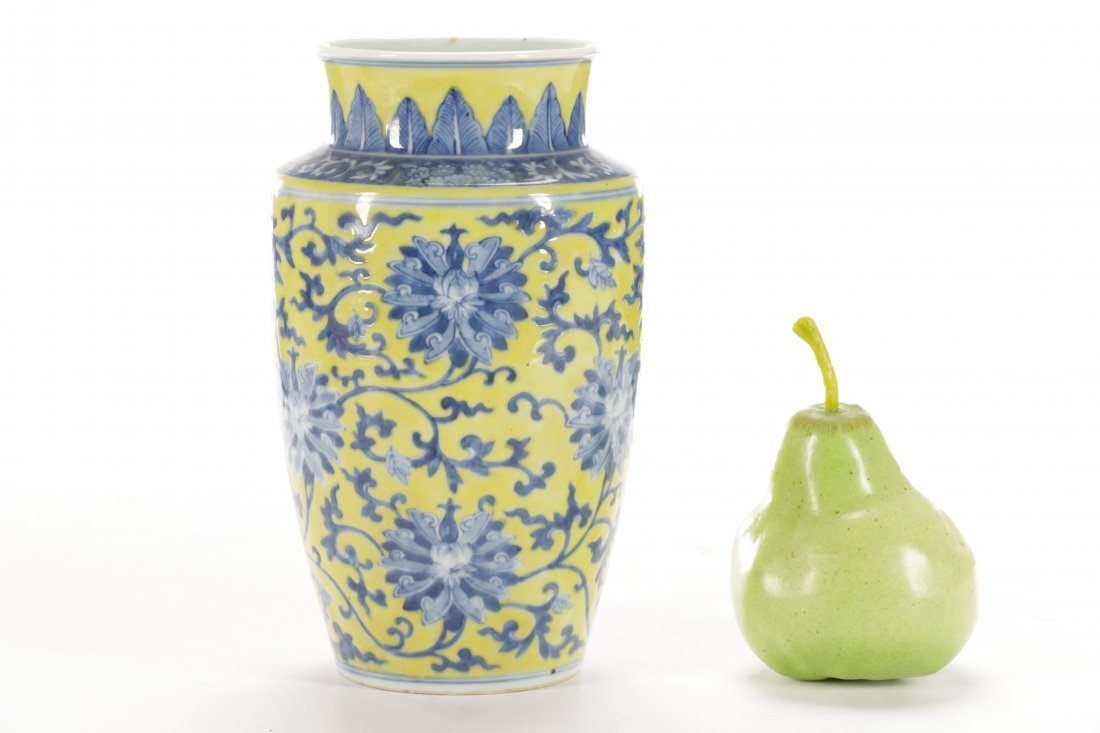 Chinese Famille Jaune Porcelain Vase on Stand - 9
