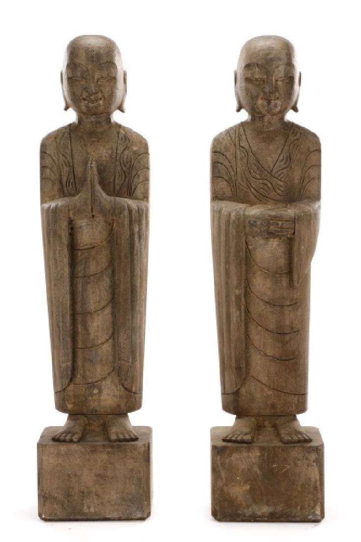 Pair of Large Carved Stone Standing Lohan Figures