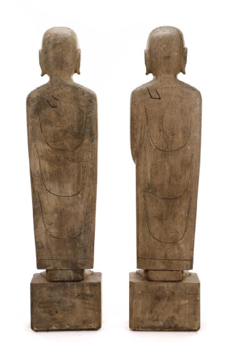 Pair of Large Carved Stone Standing Lohan Figures - 8