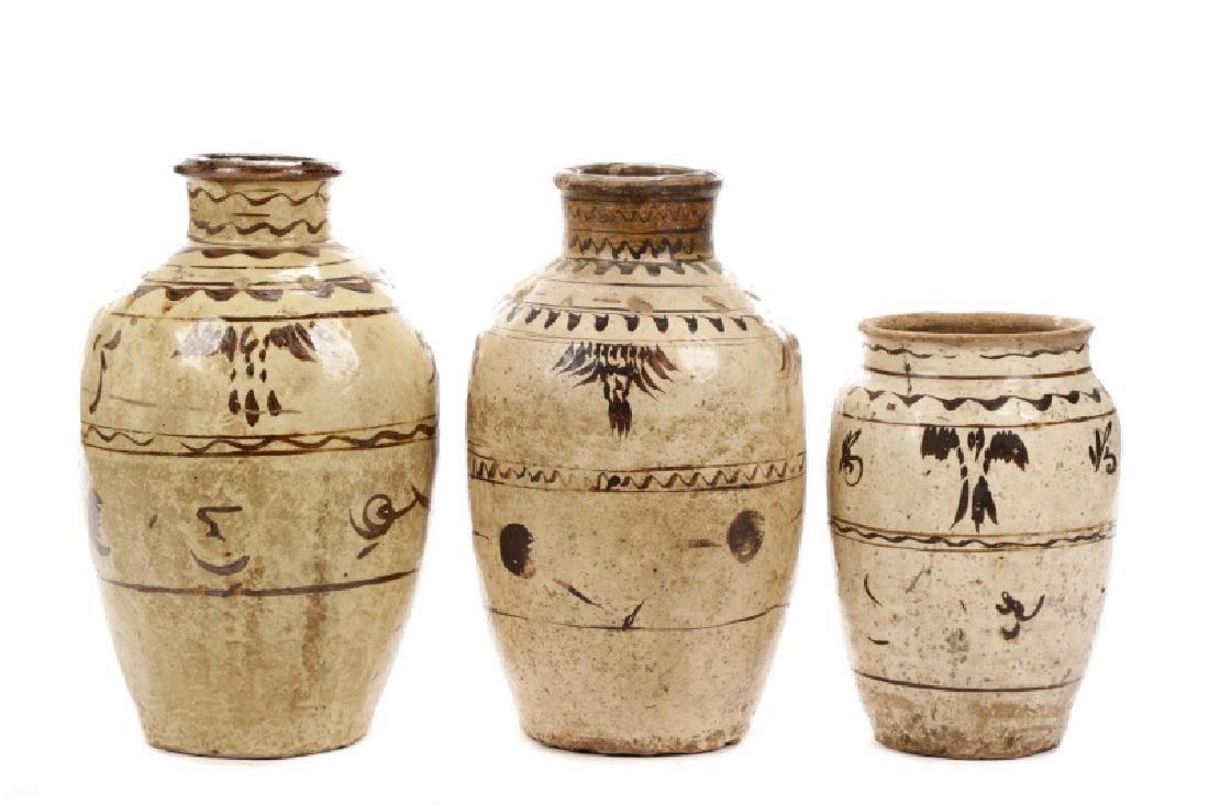 Group of Three Large Chinese Cizhou Jars