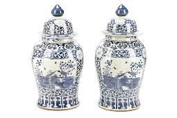 Pair of Palatial Chinese B/W Lidded Garden Urns