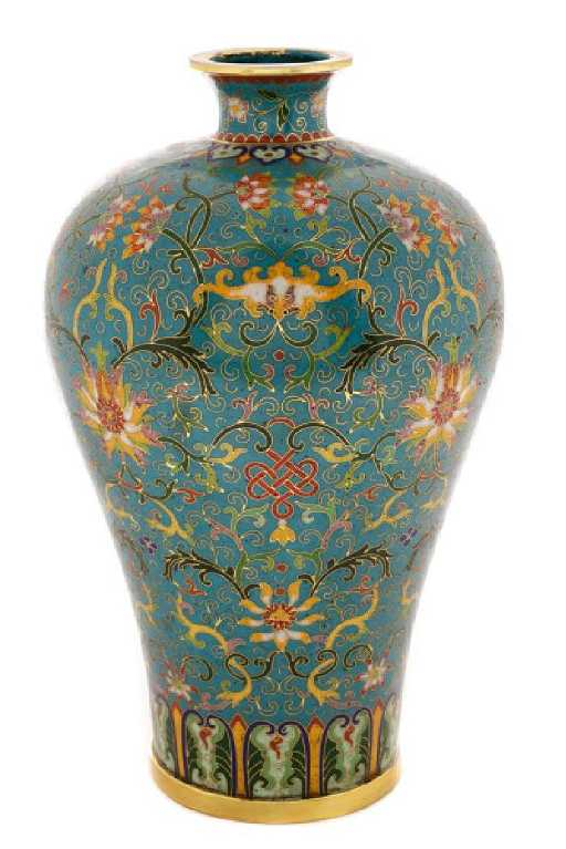 Chinese Late Qing Lao Tian Li Cloisonne Vase
