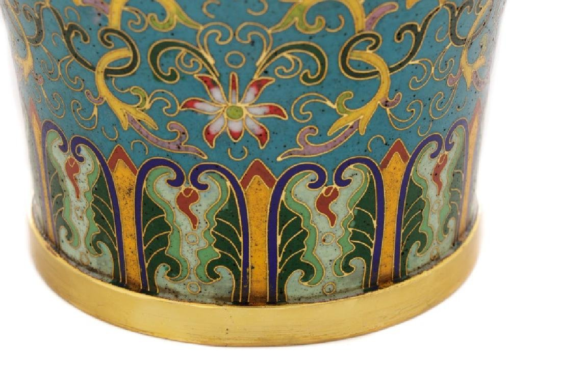 Chinese Late Qing Lao Tian Li Cloisonne Vase - 6