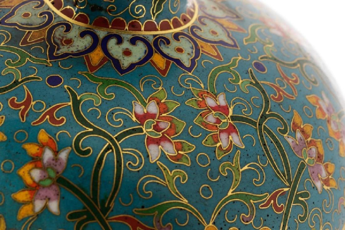 Chinese Late Qing Lao Tian Li Cloisonne Vase - 7