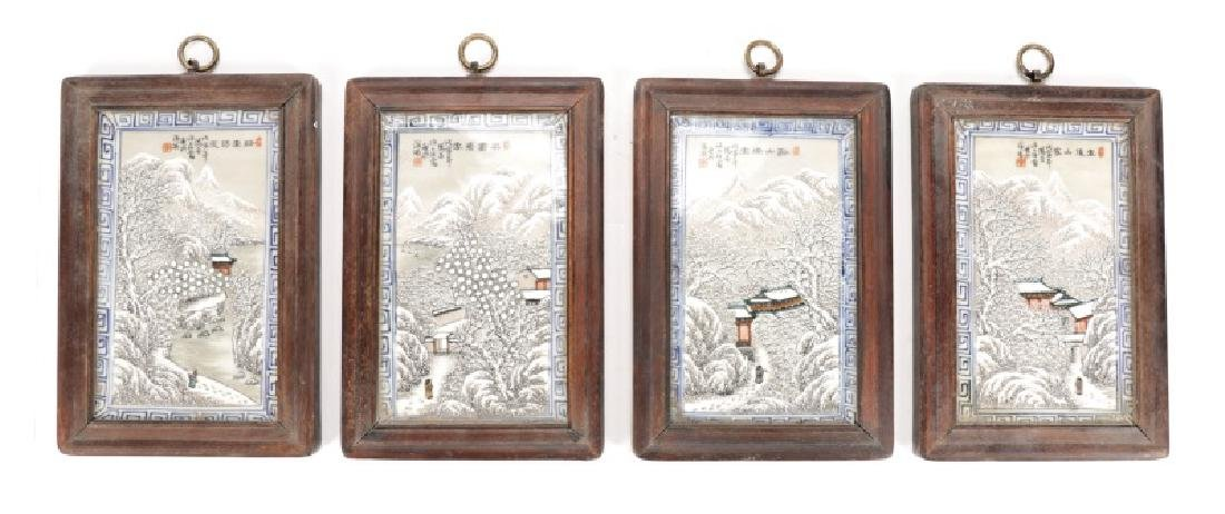 Series of 4 Chinese Framed Winter Scene Plaques