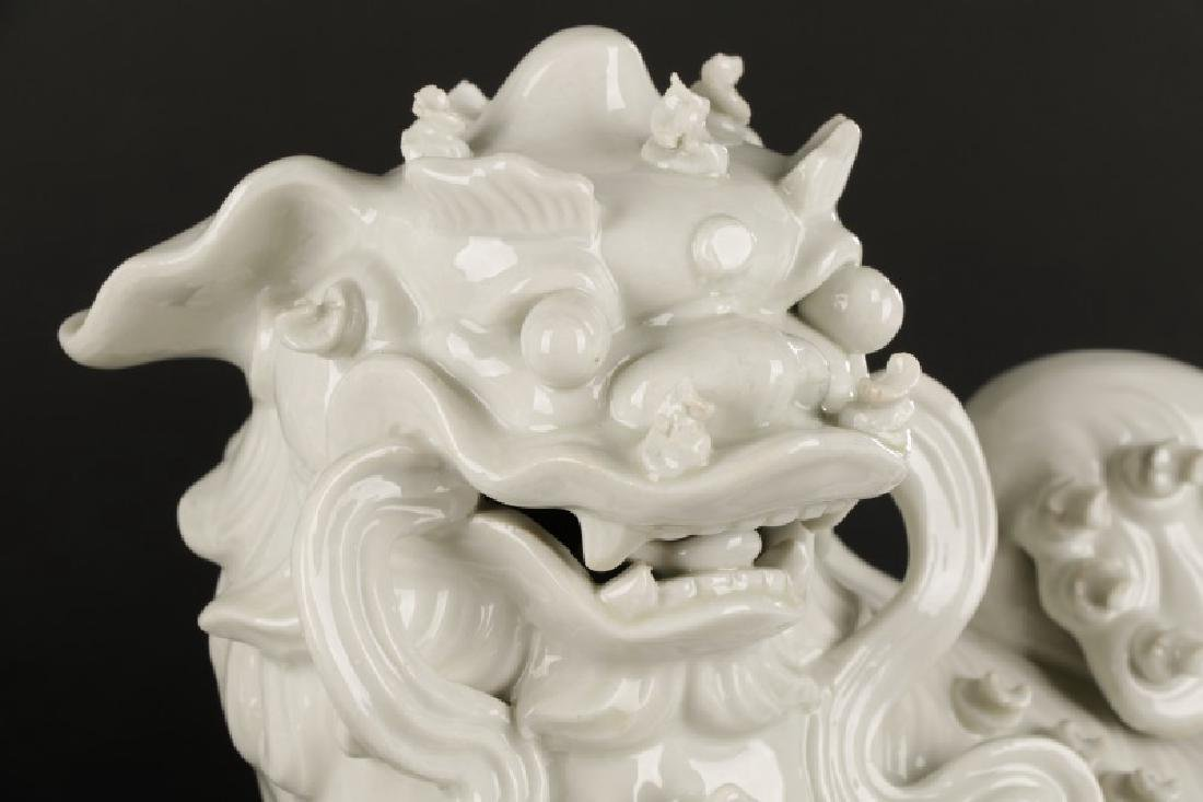 Pair, Chinese Blanc de Chine Foo Dogs - 2