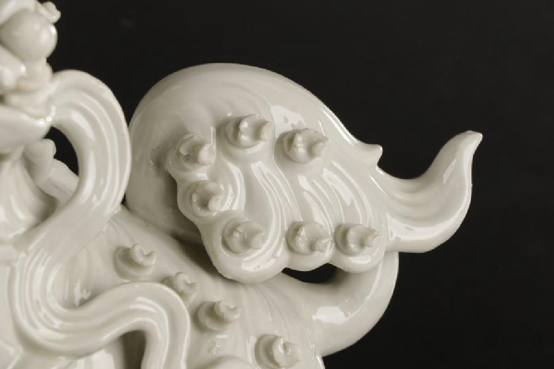 Pair, Chinese Blanc de Chine Foo Dogs - 5