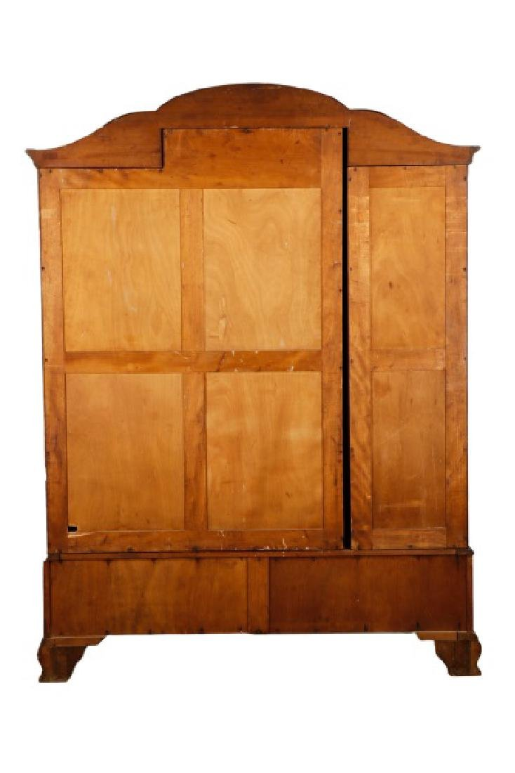 English Triple Door Burl Walnut Wardrobe - 10