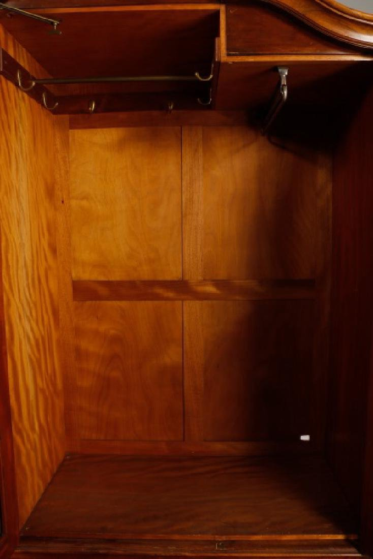 English Triple Door Burl Walnut Wardrobe - 3