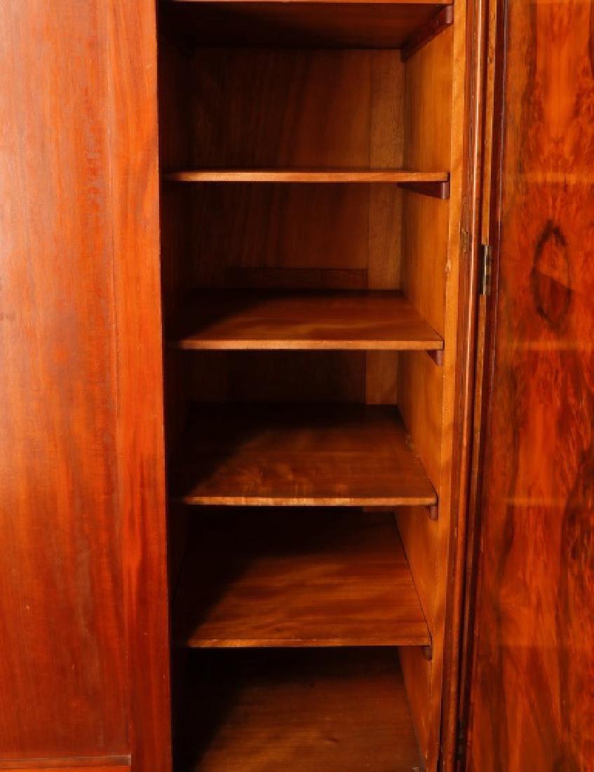English Triple Door Burl Walnut Wardrobe - 6