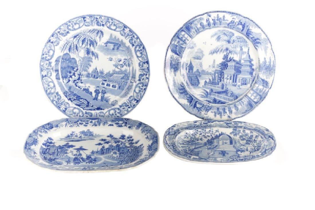 Group of 4 Early Blue & White Earthenware Dishes