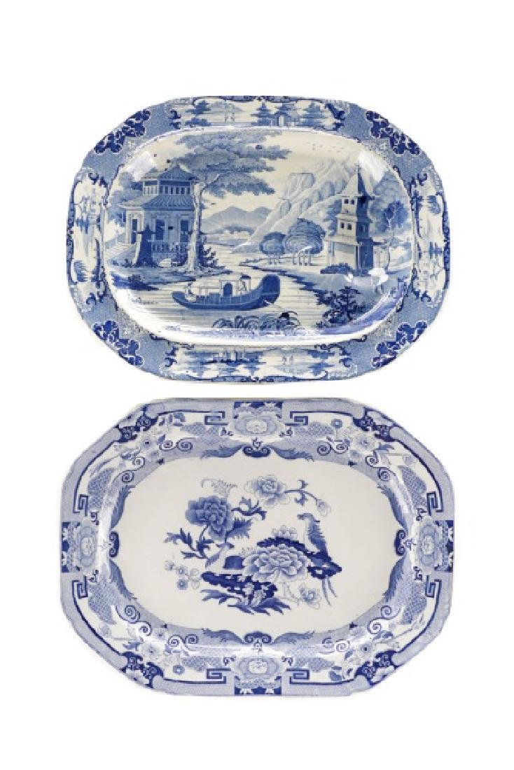 Two Early Blue & White Earthenware Platters