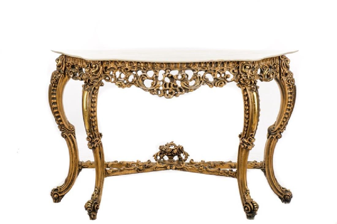 Rococo Style Giltwood & Marble Console Table