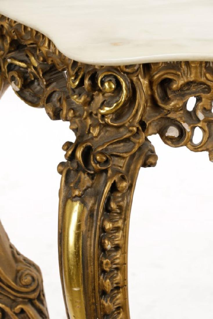 Rococo Style Giltwood & Marble Console Table - 3
