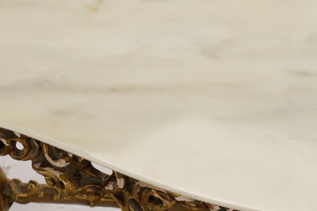 Rococo Style Giltwood & Marble Console Table - 7