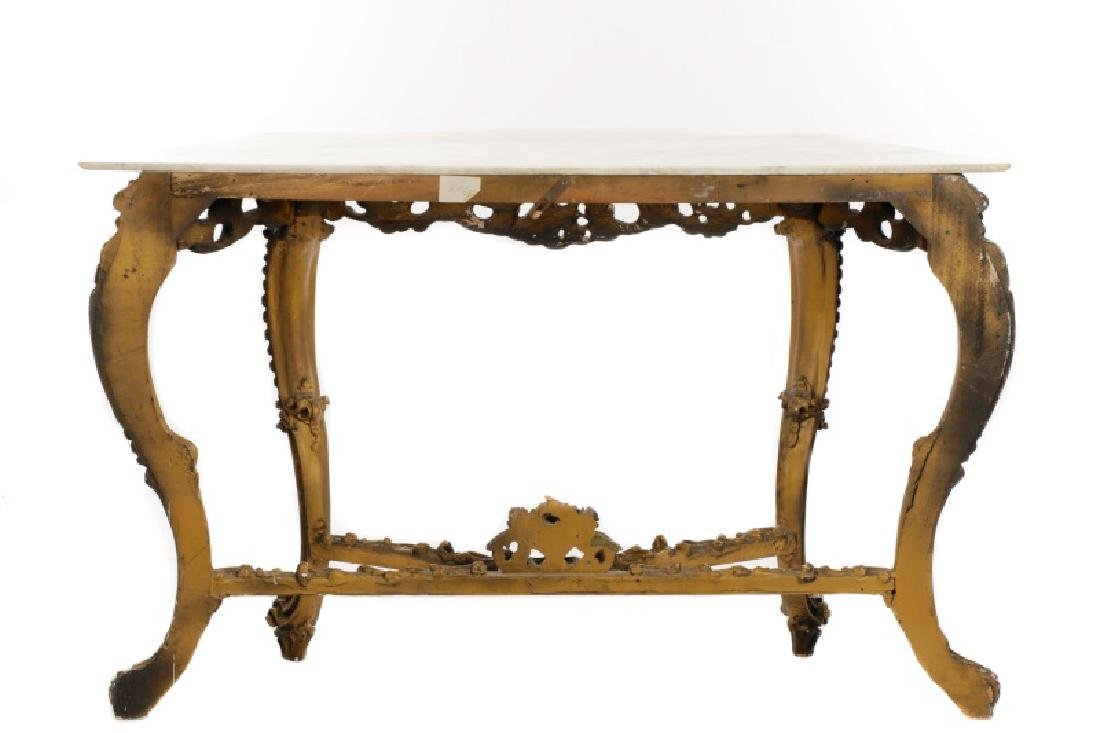 Rococo Style Giltwood & Marble Console Table - 8