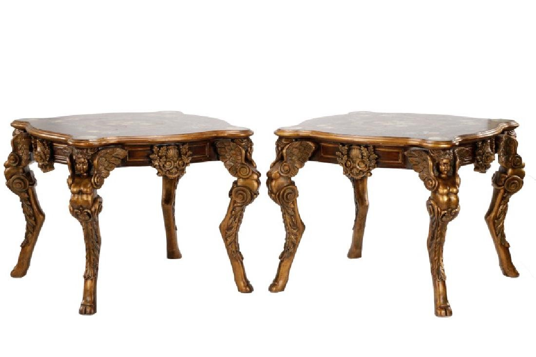 Pair, Renaissance Revival Style Painted Tables